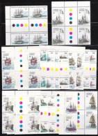 Australian Antarctic 1979 Ships Set Of 16 As Gutter Blocks Of 4 MNH - Unused Stamps