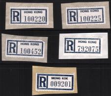 5 R-Zettel Einschreibezettel Von Hong Kong  Und Mong Kok - Hong Kong (1997-...)
