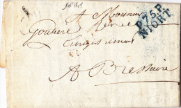 10745# LETTRE Obl P.75.P. NIORT 26*11mm BLEU 1816 PORT PAYE DEUX SEVRES BRESSUIRE - Postmark Collection (Covers)
