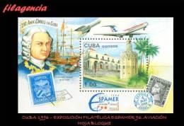 CUBA MINT. 1996-06 EXPOSICIÓN FILATÉLICA ESPAMER 96. AVIACIÓN. HOJA BLOQUE - Cuba