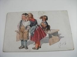 Cane Dog Chien Hund Bassotto Con Bambini Illustratore K. Feiertag Piccolo Formato - Feiertag, Karl