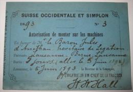 1893, Suisse Occ. Et Simplon - Autorisation De Monter Sur Les Machines, Lausanne-Berne, Baron Jules D´Anethan - Chemins De Fer