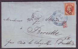 """Marne - LAC - Tàd T17 Reims + GC 3103 Sur N° 31 + """"P.D"""" + """"Aus Frankreich Per Aachen Franco"""" -> Boncette (Prusse) - 1849-1876: Période Classique"""