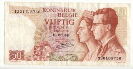 Billet De 50 Francs Belgique Du 10 05 1966 - [ 2] 1831-... : Belgian Kingdom