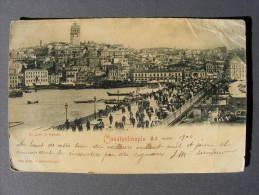 CPA Constantinople / Istanbul (Turquie/Turkey) - Le Pont De Galata 1900 - 1 TP Ancien - Tampo Pera (abimée En L´état) - Turchia