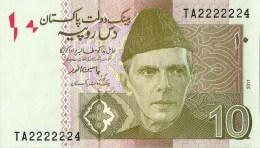 PAKISTAN NEW 10RS SEMI FANCY NUMBER TA2222224  2011 - Pakistan