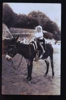 FILLETTE SUR UN ANE 1922 CP PHOTO