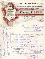 """83.VAR.TOULON.DEPOT D'ALLUMETTES DE L'ETAT & DE CARTES A JOUER """" AU BLOC DE SUEZ """" P.LAVIE 19 RUE DU PRADEL. - Non Classés"""