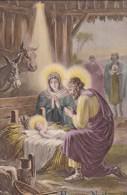Belle CPA  HEUREUX  NOEL  CRECHE  Ste VIERGE  ENFANT JESUS Et JOSEPH Boeuf Ane Et Bergers - Santa Claus