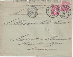 ALLEMAGNE - 1884 -  TIMBRES DE L'EMPIRE SUR LETTRE DE HAMBOURG A DESTINATION DE St BONNET ( Htes Alpes ) - FR - - Germany
