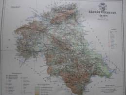 Hungary -Croatia  Zágráb Vármegye -Zagreb -Oborovo Petrovina Jaska Map For Pallas Lexikon Hungary Ca 1890  AV620.7 - Cartes Géographiques