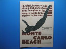 Publicité 1931  MONTE CARLO BEACH - Advertising