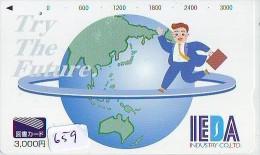 Télécarte Japon MAP * Carte Du Monde * GLOBE (659) Géographie * Mappemonde * Japan Phonecard * Telefonkarte * AARDBOL - Espacio