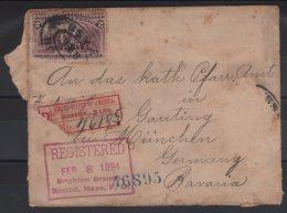 Cover : Enveloppe : USA  : Brigton Registered FER1894 FOR BAVARIA / BAVIERE / GAUTING / MUNCHEN / BOSTON MASS / BRANCH - Amérique Centrale