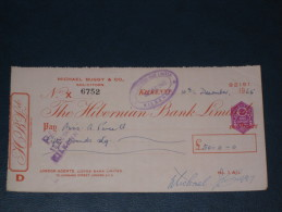 The Hibernian Bank Limited Kilkenny Ireland 1965 Cheque Revenue Stamp AG Embossed Scheck - Ireland
