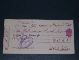 The Hibernian Bank Limited Kilkenny Ireland 1965 Cheque Revenue Stamp 3.P AG Embossed Scheck - Ireland