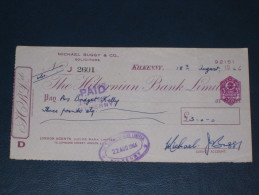 The Hibernian Bank Limited Kilkenny Ireland 1966 Cheque Revenue Stamp 3.P AD Embossed Scheck - Ireland