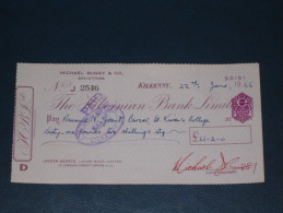 The Hibernian Bank Limited Kilkenny Ireland 1966 Cheque Revenue Stamp 3.P AE Embossed Scheck - Ireland