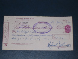 The Hibernian Bank Limited Kilkenny Ireland 1966 Cheque Revenue Stamp 3.P AF Embossed Scheck - Ireland