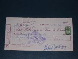 The Hibernian Bank Limited Kilkenny Ireland 1956 Cheque 2 Pence DA Revenue Stamp Embossed Scheck - Ireland