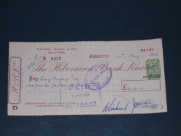 The Hibernian Bank Limited Kilkenny Ireland 1956 Cheque 2 Pence DB Revenue Stamp Embossed Scheck - Ireland