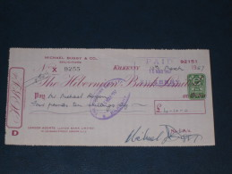 The Hibernian Bank Limited Kilkenny Ireland 1957 Cheque 2 Pence CD Revenue Stamp Embossed Scheck - Ireland