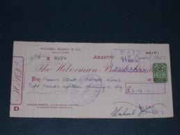 The Hibernian Bank Limited Kilkenny Ireland 1957 Cheque 2 Pence CS Revenue Stamp Embossed Scheck - Ireland