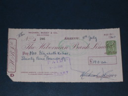 The Hibernian Bank Limited Kilkenny Ireland 1960 Cheque 2 Pence CN Revenue Stamp Embossed Scheck - Ireland