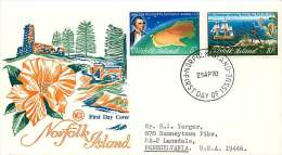 1970  Captn Cook Issue, Map Of Australia, Ships SG 118-9 On Generic Hibiscus WCS  FDC To The USA - Norfolk Island