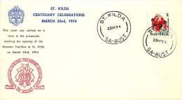 1974  Souvenir Cover  St Kilda Centenary  Opening Of Museum Tramline - 1966-79 Elizabeth II