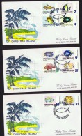 1968  Fishes  Complete Set Of 12   SG 22-31  On 3 Generic WCS FDCs - Christmas Island