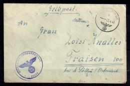 WWII ALEMANIA 1941, CORREO DE CAMPAÑA, FELDPOST Nº 28346, A TRAISEN (AUSTRIA), CORREO DE CAMPAÑA - Briefe U. Dokumente