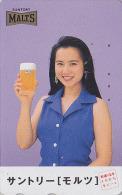 Télécarte Japon - BIERE SUNTORY & Femme - BEER & Girl Japan Phonecard - BIER Telefonkarte - CERVEZA - 559 - Publicité