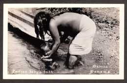 PA18) Darién - Indian Baby's Bath - Bare-breasted Native Woman & Baby - RPPC - Panama