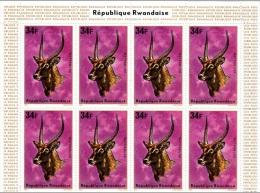 Bloc Block ** De 8 Timbres Stamps Antilope Antelope Rwanda 1975 - Rwanda