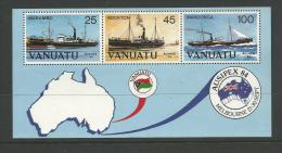1984 Ausipex 84 Mini Sheet Shows Set Of 3 Freighters  In Mini Sheet MUH - Vanuatu (1980-...)