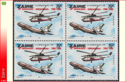 Zaire 1081** X4  75k  Aviation Douglas DC10 Surcharge MNH - Airplanes