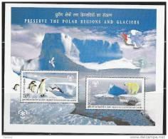 Q858.-.INDIA - . 2009 - MNH .-. S/S PENGUIN / PINGUINOS AND POLAR BEAR  - PRESERVE THE POLAR REGIONS AND GLACIERS - Bären