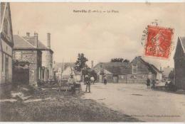 CPA 28 SERVILLE Près Dreux La Place Du Village Facteur En Tournée 1912 - Francia