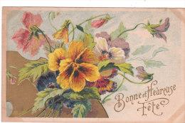 Carte Postale Ancienne Fantaisie Gaufrée - Fleurs - Pensées - Bonne Et Heureuse Fête - Móviles (animadas)