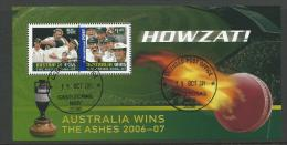 2006-07 Australia Wins The Ashes Mini Sheet  Complete Mint Never Hinged Fine CTO Does Have 2 Cut Marks So Cheap - Blocks & Sheetlets