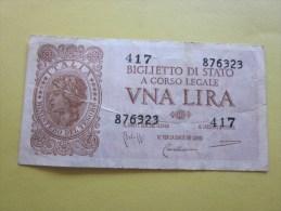 1935/44  Italia Italie Biglietto Di Stato  A Corso Legale Vna Lira Billet De Banque Italienne - [ 2] 1946-… : Repubblica