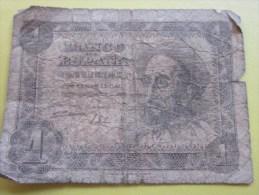 Espagne Banque Banco Espana Biglietto De Corso  Legale  Billet De Banque Espagnol  1 Péseta - [ 2] 1931-1936 : República