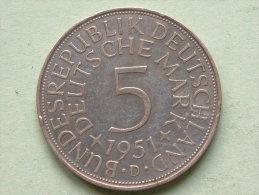 1951 D - 5 MARK / KM 112.1 ( Uncleaned - For Grade, Please See Photo ) ! - [ 7] 1949-… : RFA - Rép. Féd. D'Allemagne