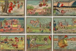 "9 CHROMOS  - SPORTS -  Marcel HAUTON - SAINT - NAZAIRE - "" LASTICOT Champion De BOXE, FOOTBALL, HOCKEY, ESCRIME ..."" - Chromos"