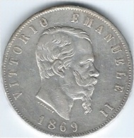 Italia Vittorio Emanuela 1869 Silver 5 L - 1861-1946 : Kingdom