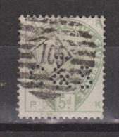 Engeland United Kingdom, Great Britain, Angleterre, Queen Victoria, SG 193 Y&T 82, MICHEL 78 PERFIN C&S - 1840-1901 (Victoria)
