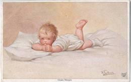 Wally Fialkowska Guten Morgen Baby Im Bett Color 22.3.1919 Gelaufen LÖWENBERG SCHLESIEN Primus Volkskarte - Fialkowska, Wally