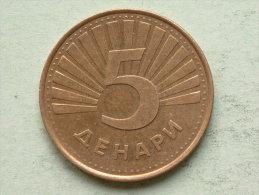 2008 - 5 Denari / KM 4 ( Uncleaned - For Grade, Please See Photo ) ! - Macédoine