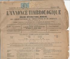 825/21 - Journal L´ Annonce Timbrologique BRUXELLES Novembre 1898 - TP 1 C Expédiée En IMPRIME - Magazines